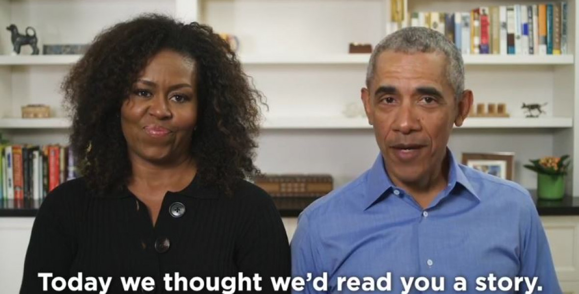 Gyerekeknek olvas fel Oprah Winfrey és az Obama-házaspár