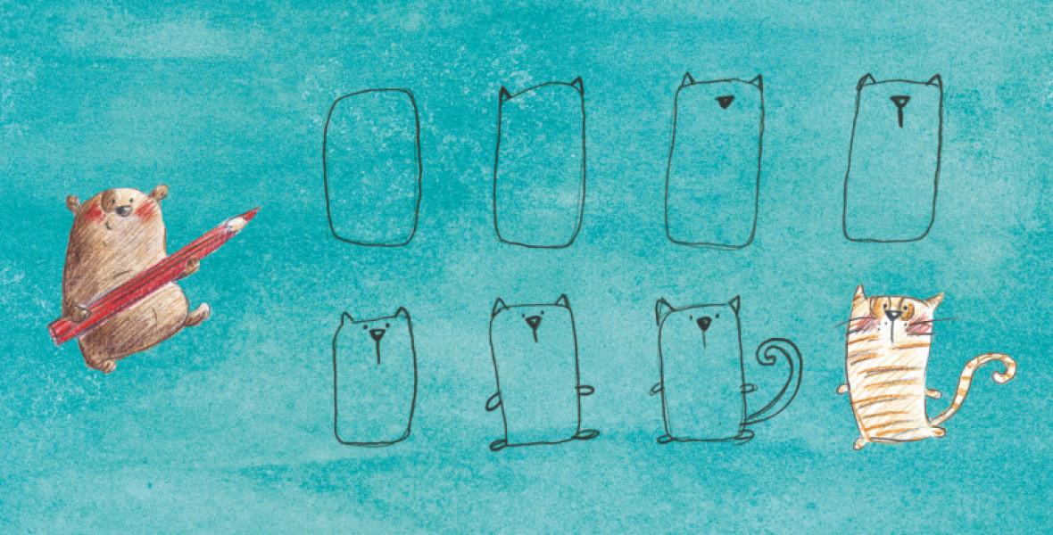 Agócs Írisz szabálytalan krumplikból rajzol medvét, lajhárt, elefántot