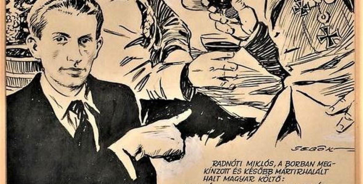 Az 50-es években humorosnak szánt grafikában utaltak Radnótira és a holokausztra